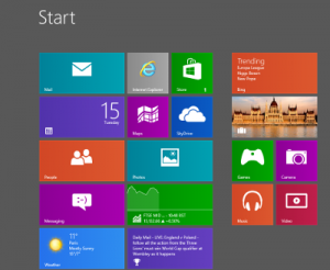 Windows 8 Start screen with tiles