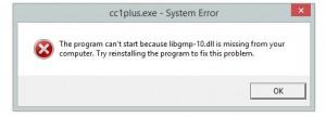 CodeBlocks cc1plus.exe lib dll error