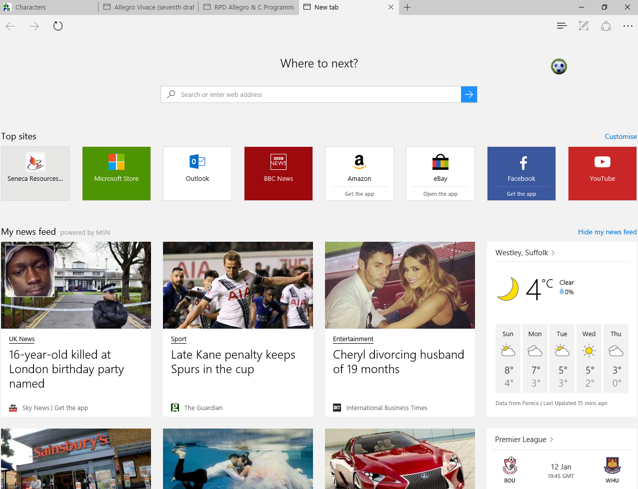 MS Edge browser new tab